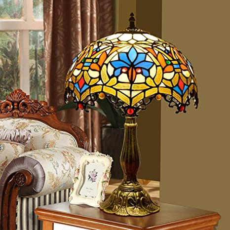 NMBE-light Lámpara de Mesa de Cristal de Color Tiffany de 12 ...