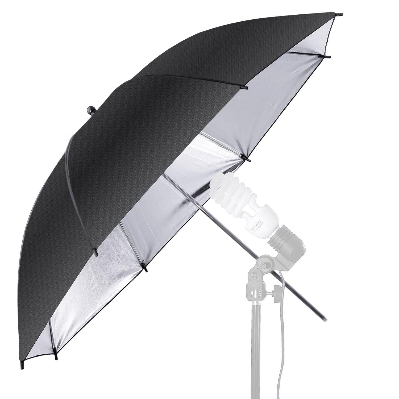 Neewer 36'/91cm Photo Studio Black/Silver Reflective Lighting Umbrella for Photography Studio Flash Light and Location Shoots