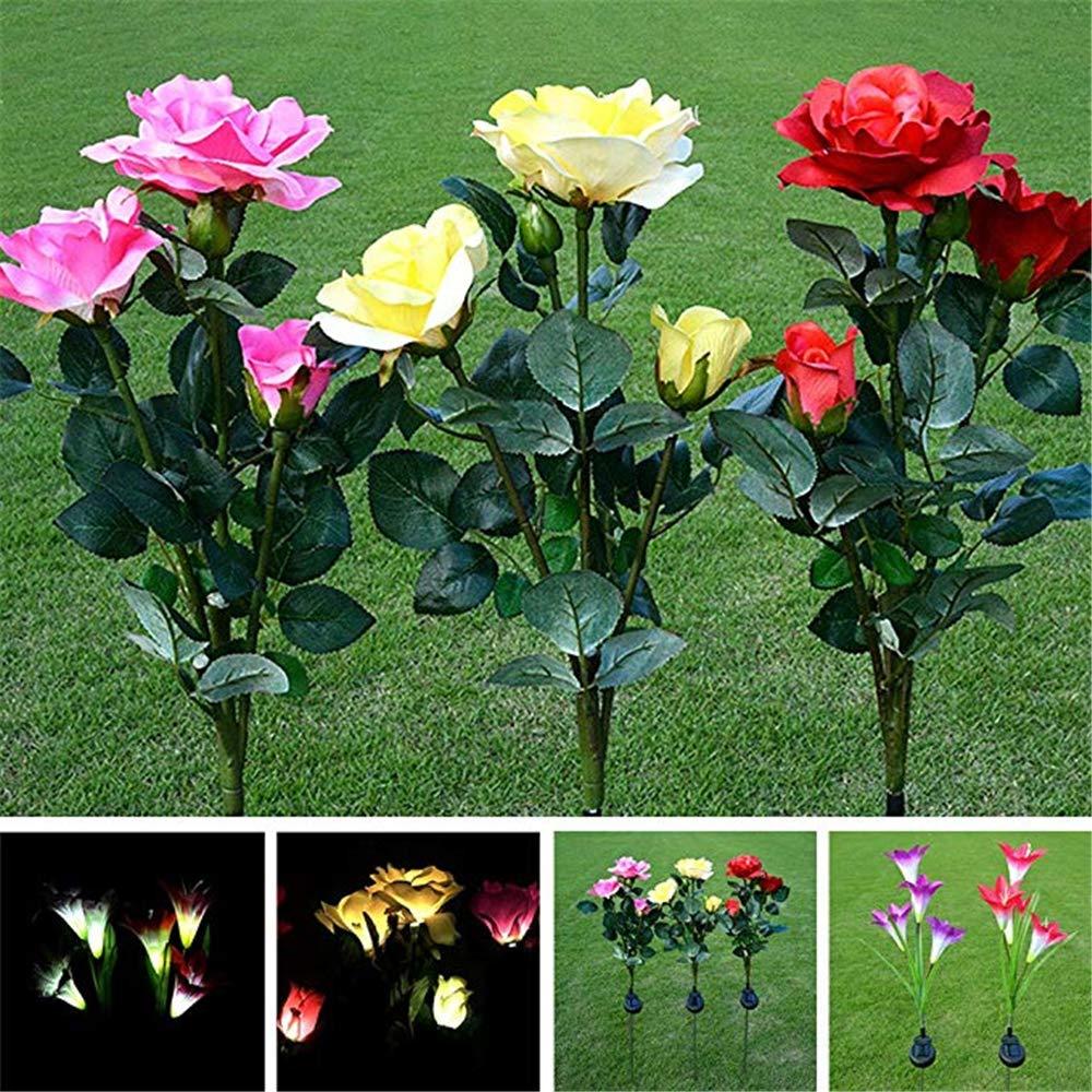 vitihipsy /Énergie solaire artificielle Rose fleur LED Lumi/ères Pelouse Lampe Jardin Paysage D/écor Ext/érieur En Plein Air Solaire Jardin Lumi/ères Balcon Balcon Illumination