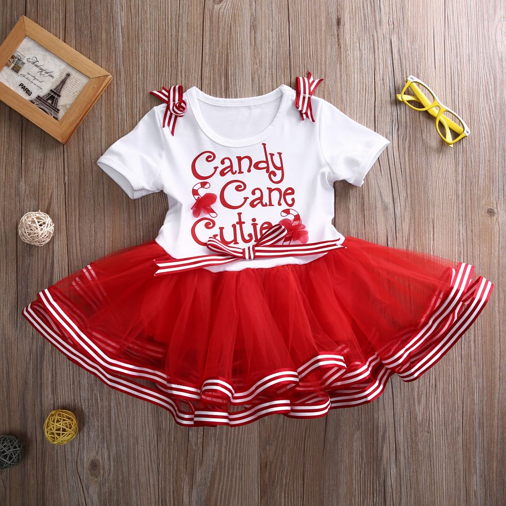 ONES Toddler Girls Christmas Tutu Dress Bow-Knot Candy Ruffle Tulle Xmas Outfits