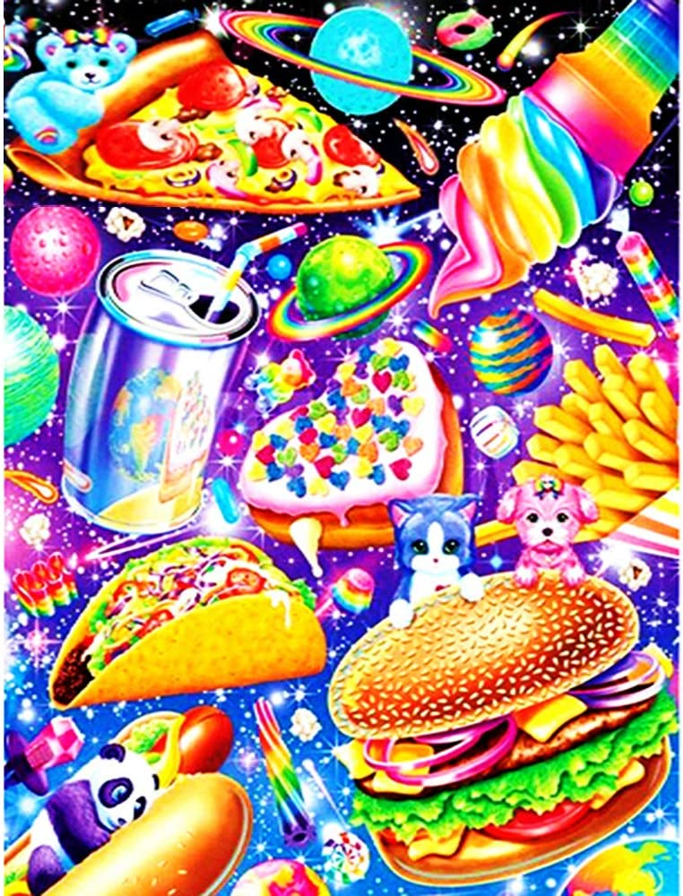 Diamond Painting Colorful Food Kits for Adults Diamond Art Pizza French Fries Cake Ice Cream Round DIY Full Drill Gem Pictures by Number Kits Art Craft for Home Wall Decor Holidate Gift 11.8x15.8inch
