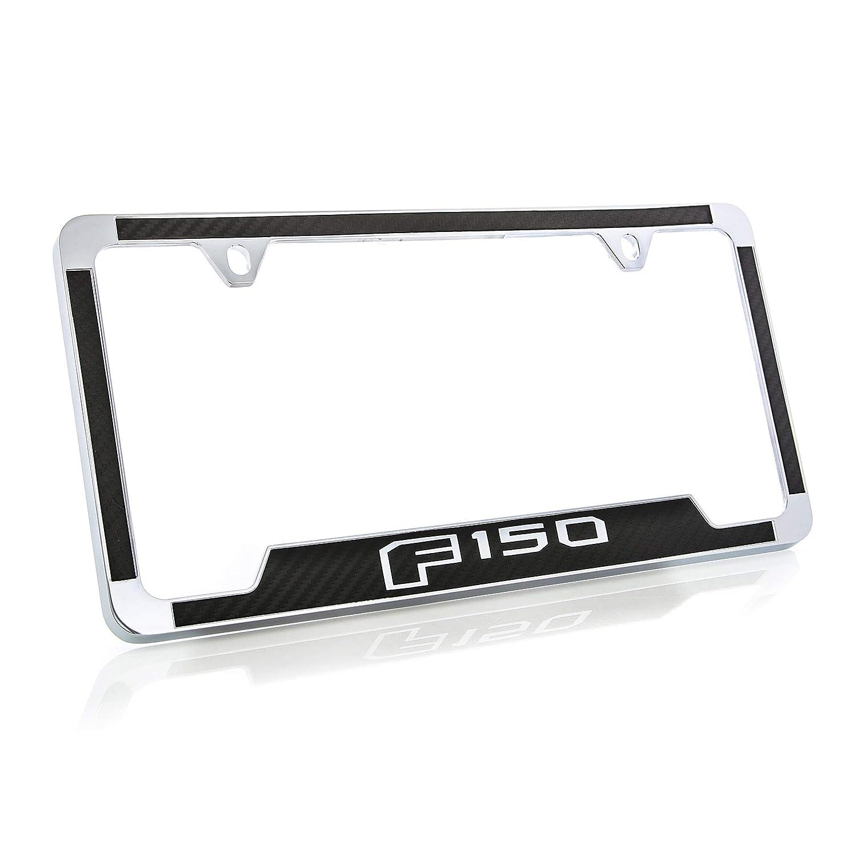 Ford F 150 License Plate Frame 2 Hole//Zinc, Chrome//Black