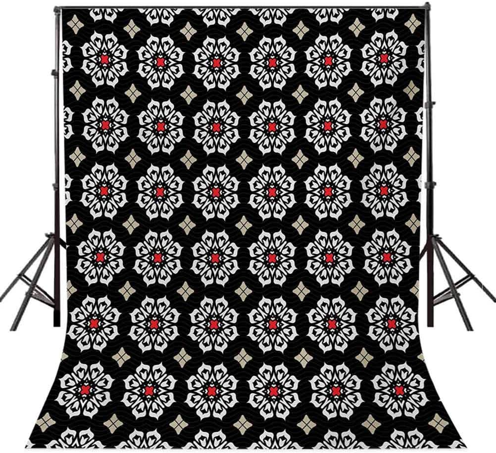 10x12 FT Backdrop Photographers,Floral Ornament Motifs on Dark Background with Wavy Lines Abstract Ancient Design Background for Party Home Decor Outdoorsy Theme Vinyl Shoot Props Multicolor