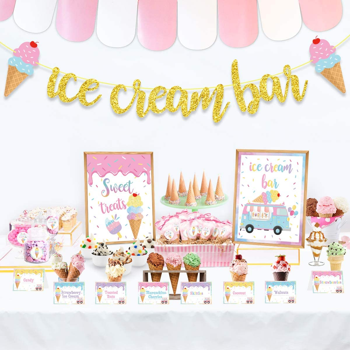 Ice Cream Bar Decorations Kit,Gold Glitter Ice Cream Bar Banner,Ice Cream Bar Sign Toppings Labels Tent Cards Cup Tag Sticker for Ice Cream Theme Party, Summer Party Supplies, Baby Shower Decorations