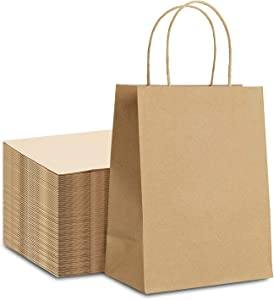 CAYUENG 100PCs Kraft Paper Bags, 10x5x13Inch Brown Gift Bags with Handles, Plain Paper Shopping Bags, Durable and Reusable Merchandise Retail Paperbags for Food and Gifts