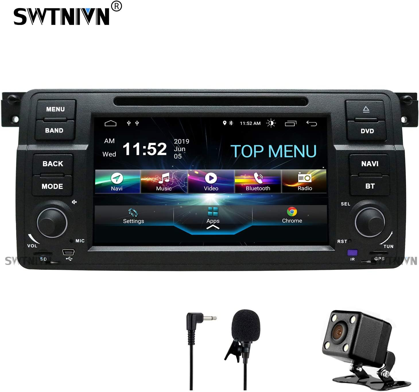 SWTNVIN Android 9.0 Car Stereo Compatible with BMW 3 Series 1999 2000 2001 2002 2003 2004(E46) Rover75 MG ZT 2G RAM 32G ROM 7 Inch HD Car Radio Support BT GPS TPMS Steering Wheel DVD Play