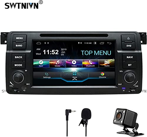 SWTNVIN Android 9.0 Car Stereo Compatible with BMW 3 Series 1999 2000 2001 2002 2003 2004 E46 Rover75 MG ZT 2G RAM 32G ROM 7 Inch HD Car Radio Support BT GPS TPMS Steering Wheel DVD Play
