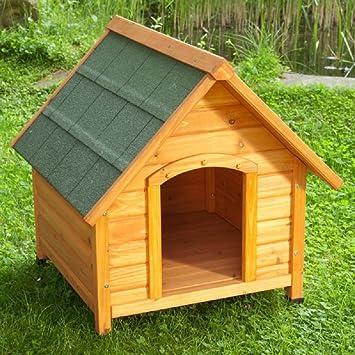 Caseta de perro para exterior, de madera ligera, con techo inclinado: Amazon.es: Productos para mascotas