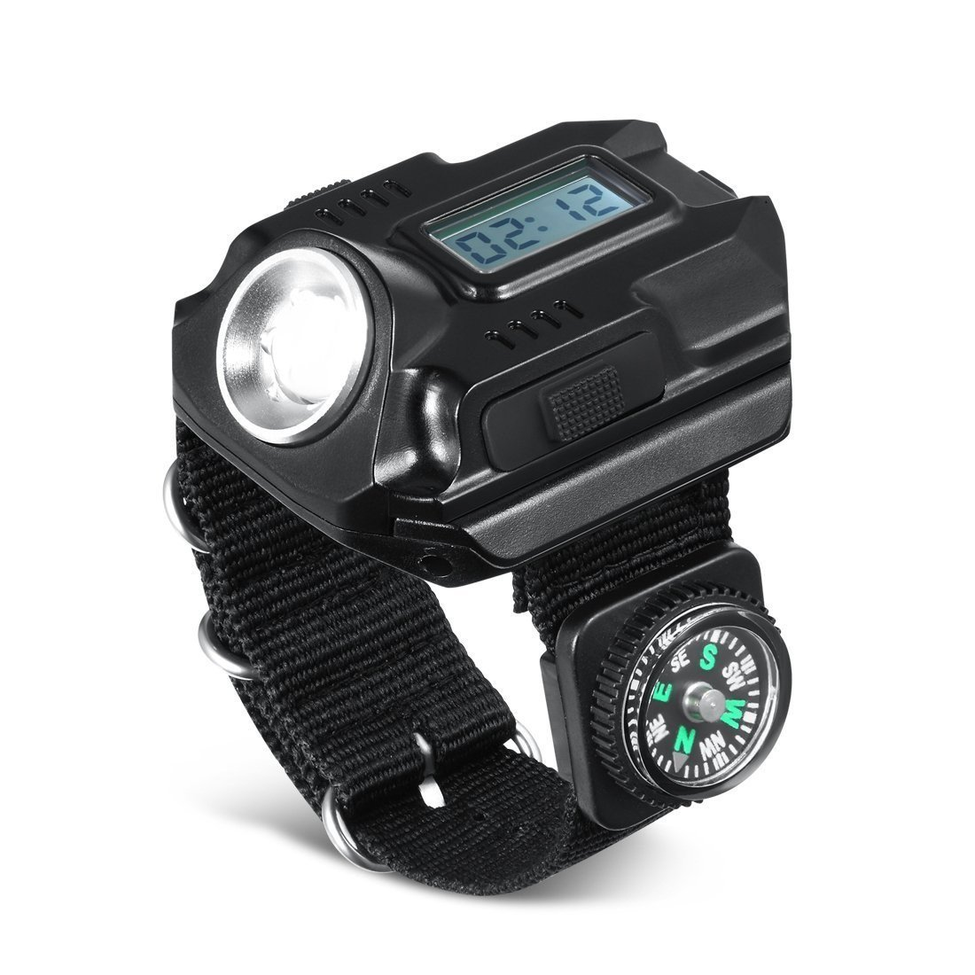 SUNDERPOWER Wrist LED Light, Rechargeable Waterproof LED Flashlight Watch with Compass, Best for Running Mountain Climbing Camping Survival Hiking Hunting Patrol