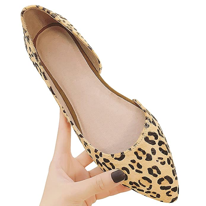Jamron Women Fashion Leopard Pointed Toe O'rsay & Two-Piece Flat Pumps High  End Horse Hair Loafer Flats Ballerinas: Amazon.co.uk: Shoes & Bags