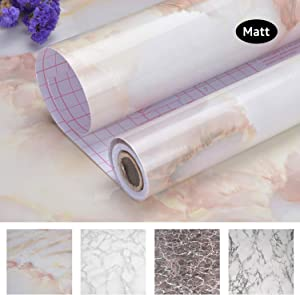 """Art3d 17.7""""x78.7"""" Marble Contact Paper Countertops - Self Adhesive Shelf Drawer Liner - Decorative Contact Wallpaper - Waterproof, Peel and Stick, Easily Removable (17.71"""" x 78.74"""", Matt)"""