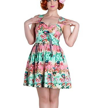 b64162b25419 Hell Bunny Summer Mini Dress Peacock Floral Pink Green L 14  Amazon.co.uk   Clothing