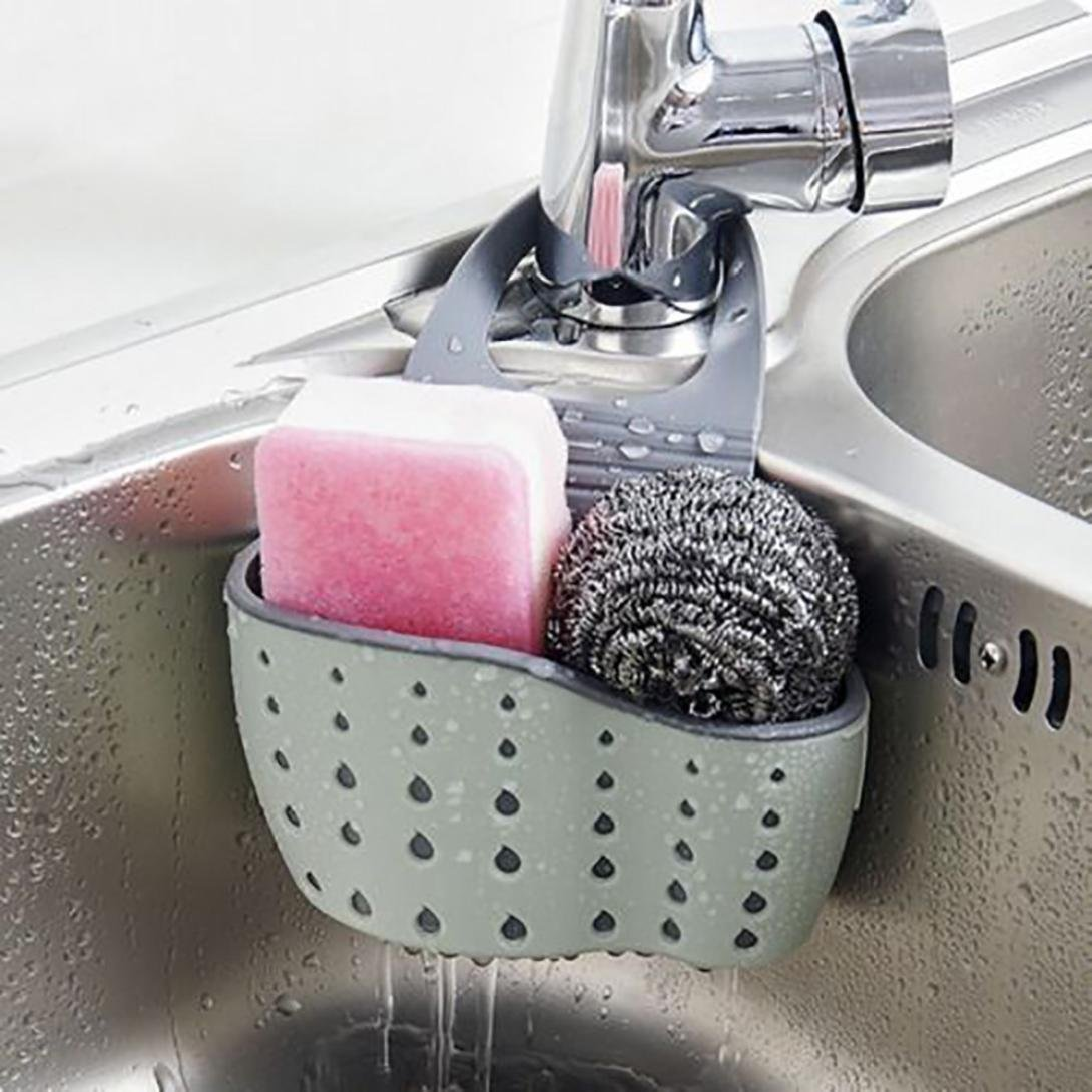 Sink Caddy Sponge Holder Soap Holder, kathson Green Plastic Saddle Faucet Caddy Desk Organizer Pen Holder