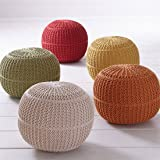 Brylanehome Hand-Knitted Ottoman Pouf (Red,0)