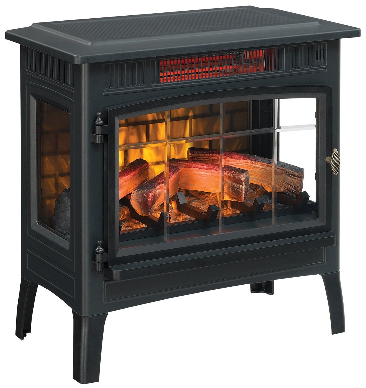 Duraflame Electric Infrared Quartz Fireplace Stove with 3D Flame Effect, Black, by Duraflame Electric