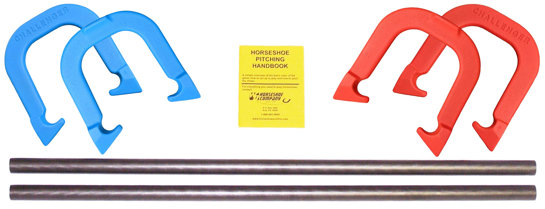 Challenger Professional Pitching Horseshoes Game Set- Made in USA! (Red & Blue- Complete Game Set (4 Shoes, 2 Stakes & Rule Book)) by Thoroughbred Horseshoes