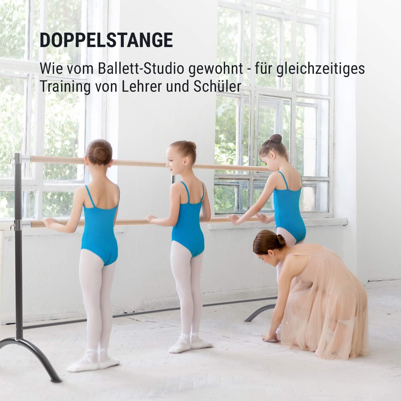 bis 220 cm lang f/ür das professionelle Tanz- und Bewegungstraining Holzoptik und Stahlrohr freistehend f/ür Kinder und Erwachsene Klarfit Barre Ballettstange /& Stretchleiter