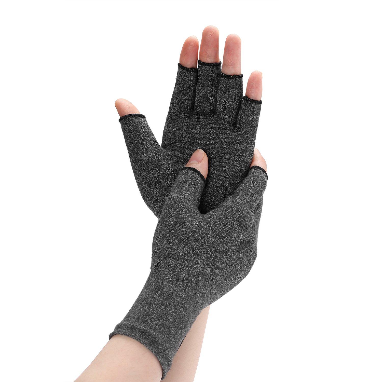 Arthritis Compression Gloves Relieve Pain from Rheumatoid, RSI, Carpal Tunnel, Rheumatiod, Tendonitis, Hand Gloves Fingerless for Dailywork - Men & Women - Open Finger (Black, Medium)