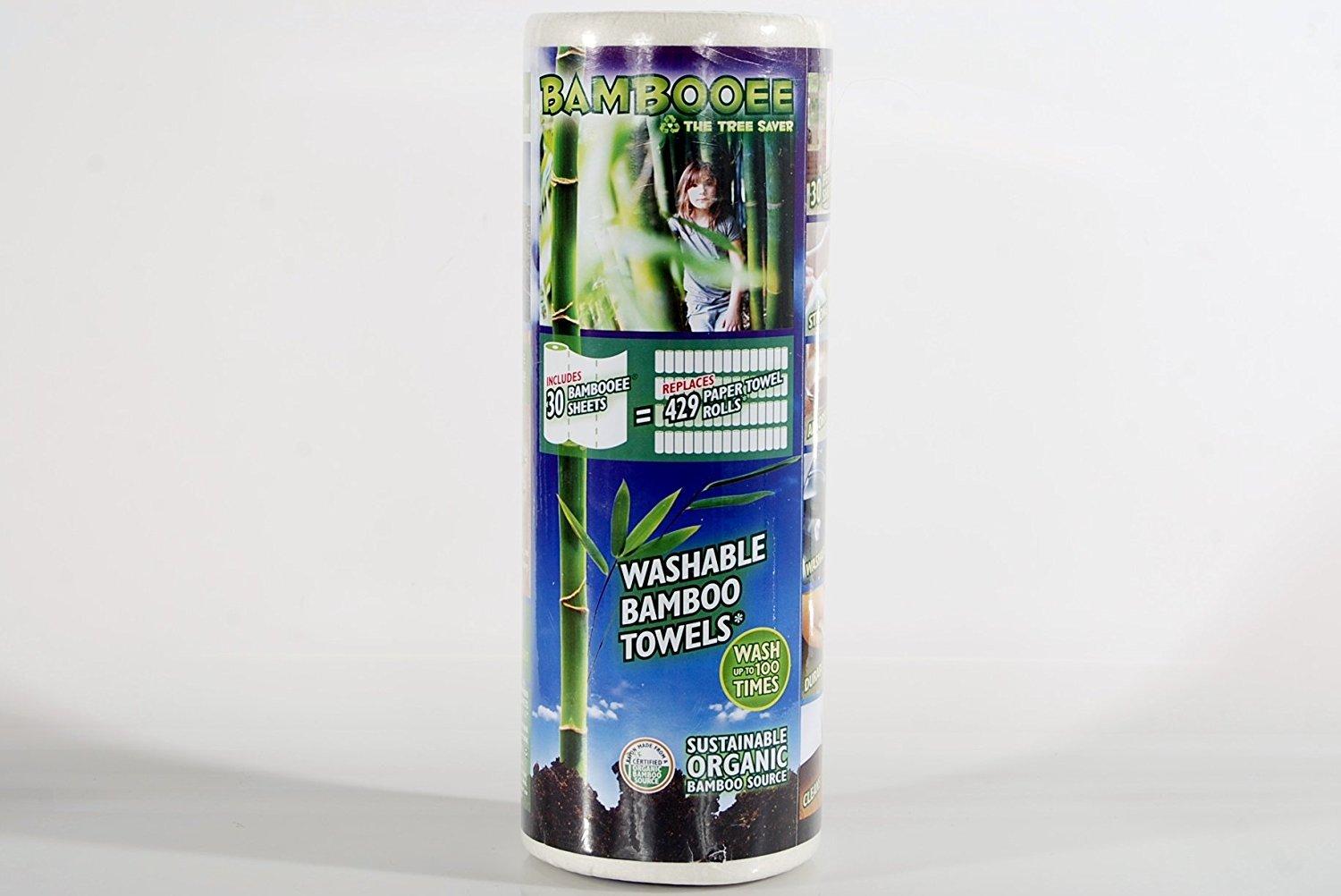 Bambooee Washable Rayon from Bamboo Cloth Wipes As Seen on SharkTank Bamboo Paper Towel Replacement Jumbo 30 Sheet Roll