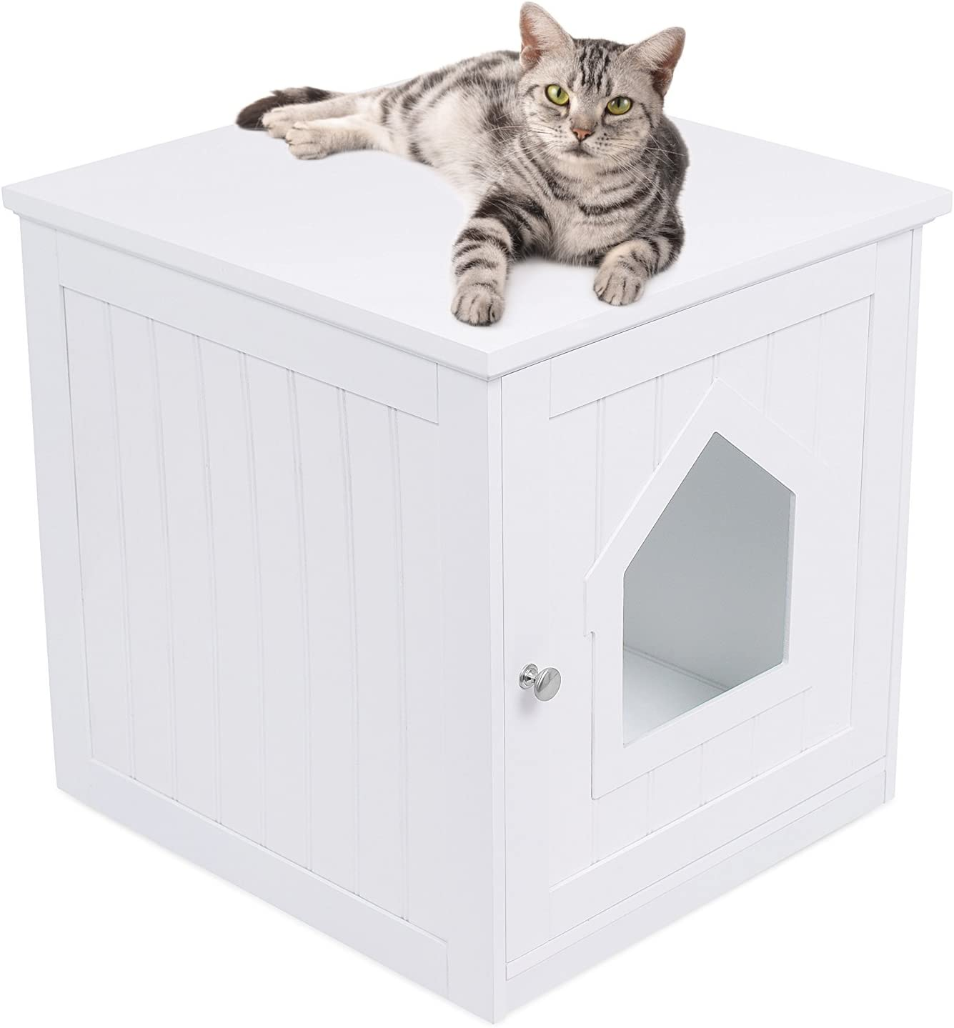 Birdrock Home Decorative Cat House Side Table Cat Home Nightstand Indoor Pet Crate Litter Box Enclosure Hooded Hidden Pet Box Cats Furniture Cabinet Kitty Washroom White Pet Supplies