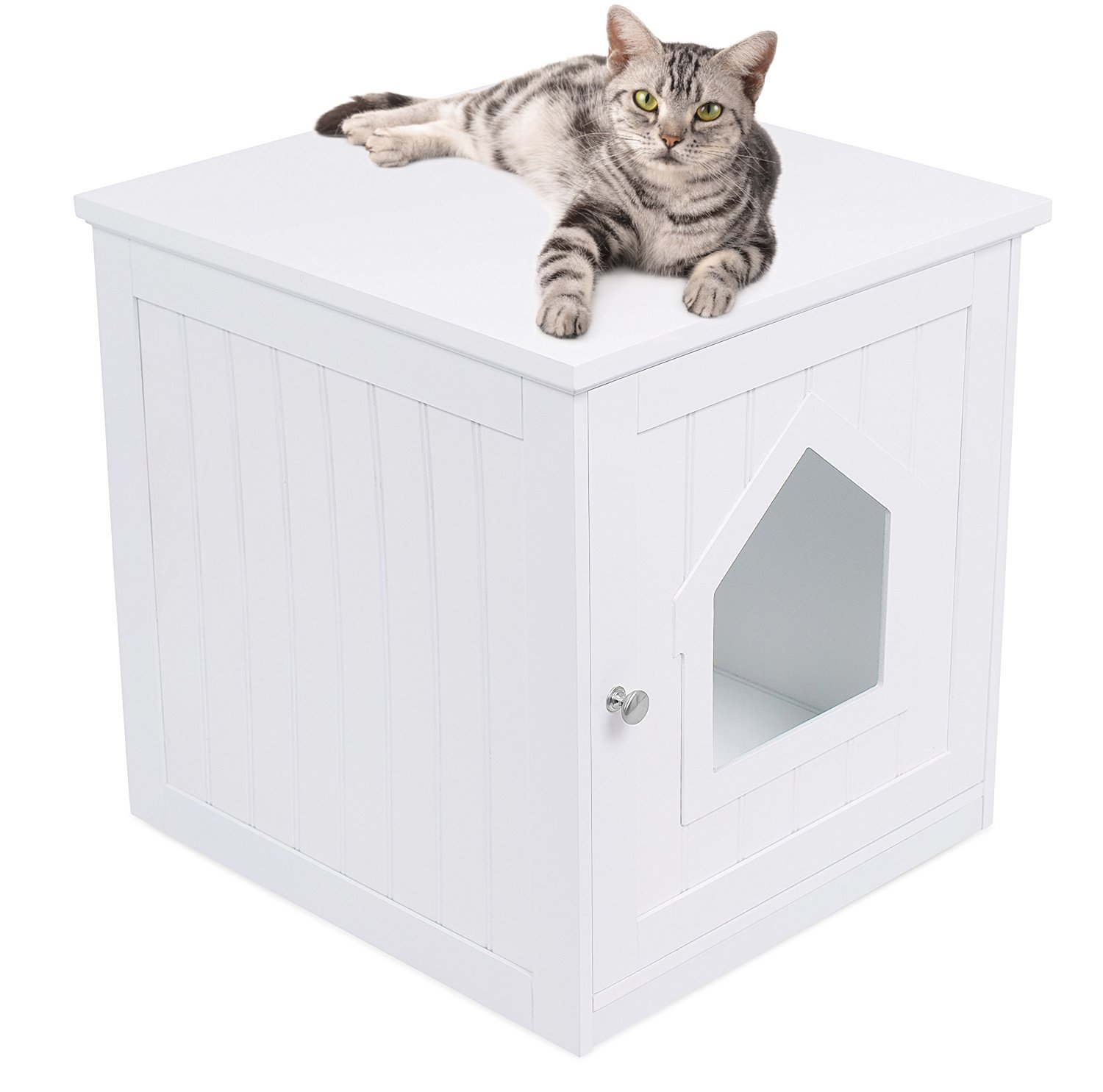 Internet's Best Decorative Cat House & Side Table | Cat Home Nightstand | Indoor Pet Crate | Litter Box Enclosure | Hooded Hidden Pet Box | Cats Furniture Cabinet | Kitty Washroom | White by Internet's Best