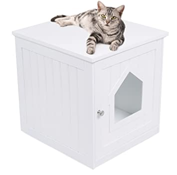 Amazon.com: Casa para gatos decorativa y mesa auxiliar ...