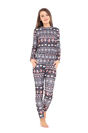 New Women Ladies Christmas Xmas Santa Reindeer Printed Tracksuit 2pc pyjama  set b3c707834