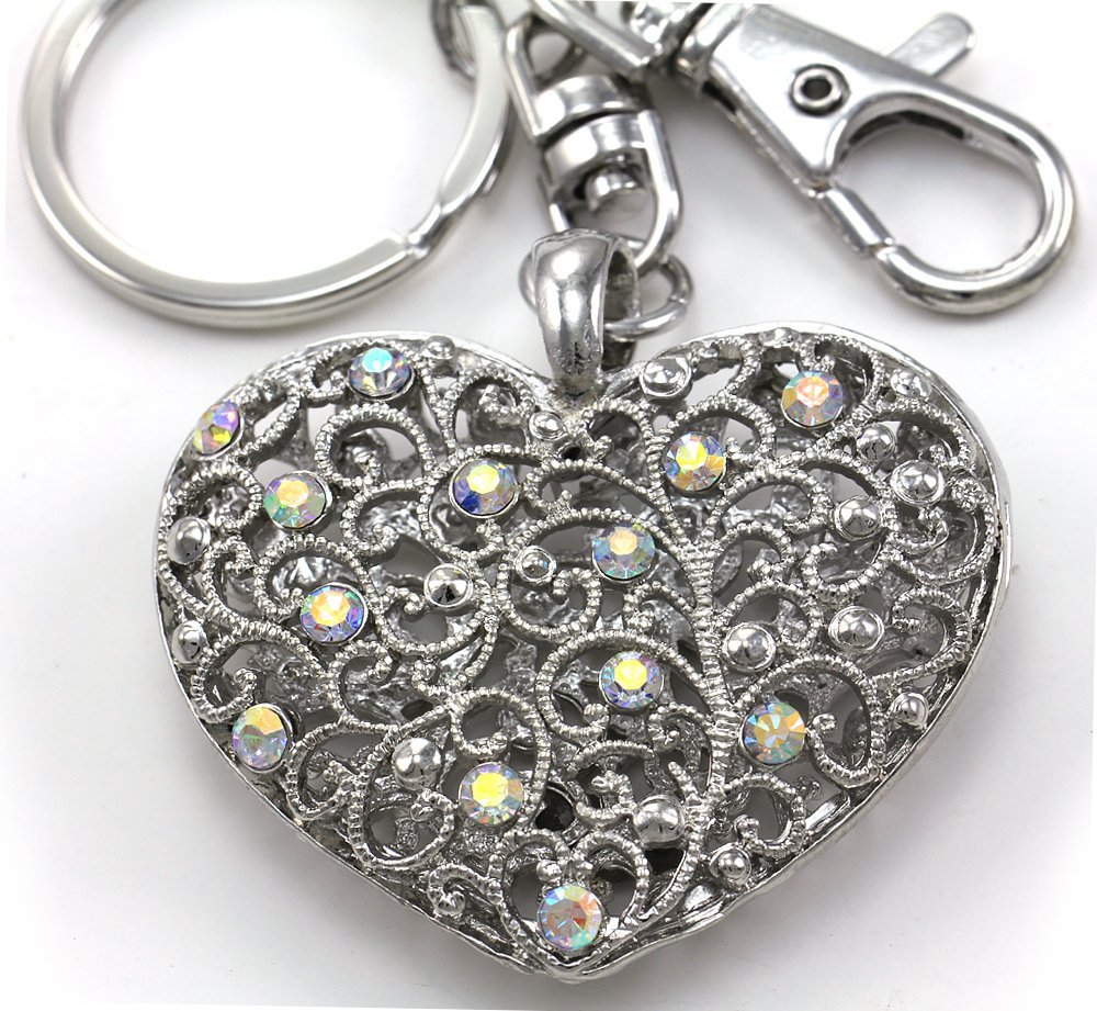 Mother's Day Gift & Valentine's Day Gift Clear AB Love Heart Keychain Key Ring Charm