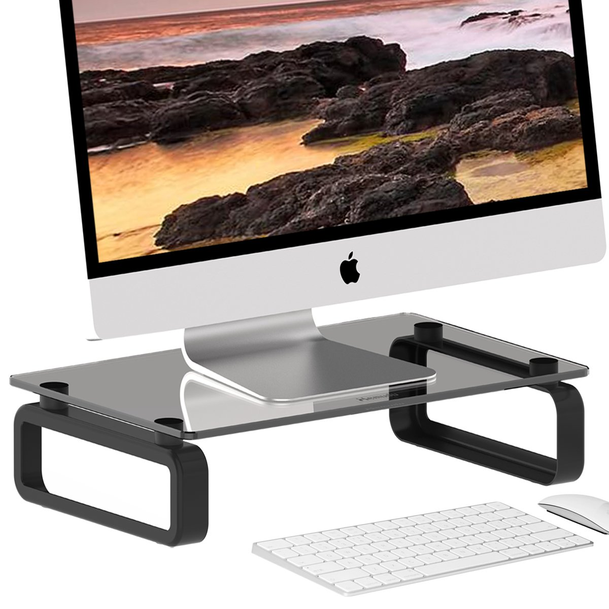 Computer Monitor Stand Riser Multi Media Desktop Stand for Flat Screen LCD LED TV, Laptop/Notebook/Xbox One, with Tempered Glass and Metal Legs, Black HD02B-001