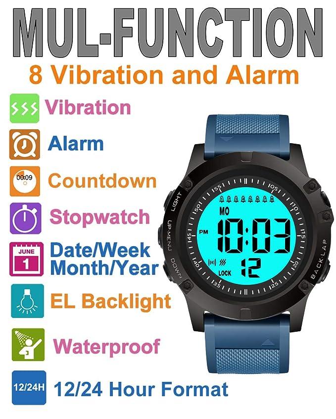 TICCI - Reloj de Pulsera con 8 alarmas Vibrantes para Hombre, Ayuda a la medicación, Alerta de píldora Vibra para Ancianos, Grandes dígitos, ...