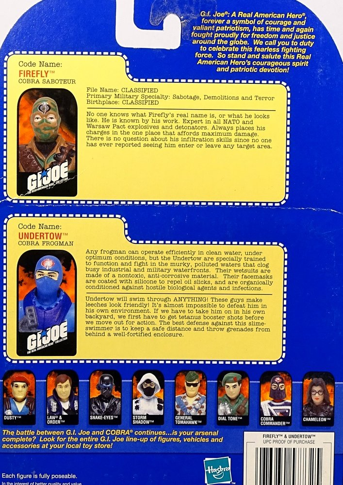 GI JOE The Real American Hero Collection Firefly and Undertow Hasbro 57682
