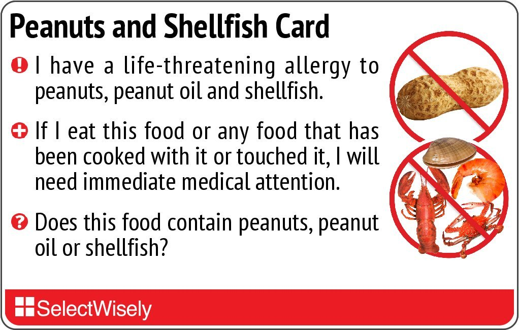 Peanuts and Shellfish Allergy Translation Card - Translated in English or any of 9 languages