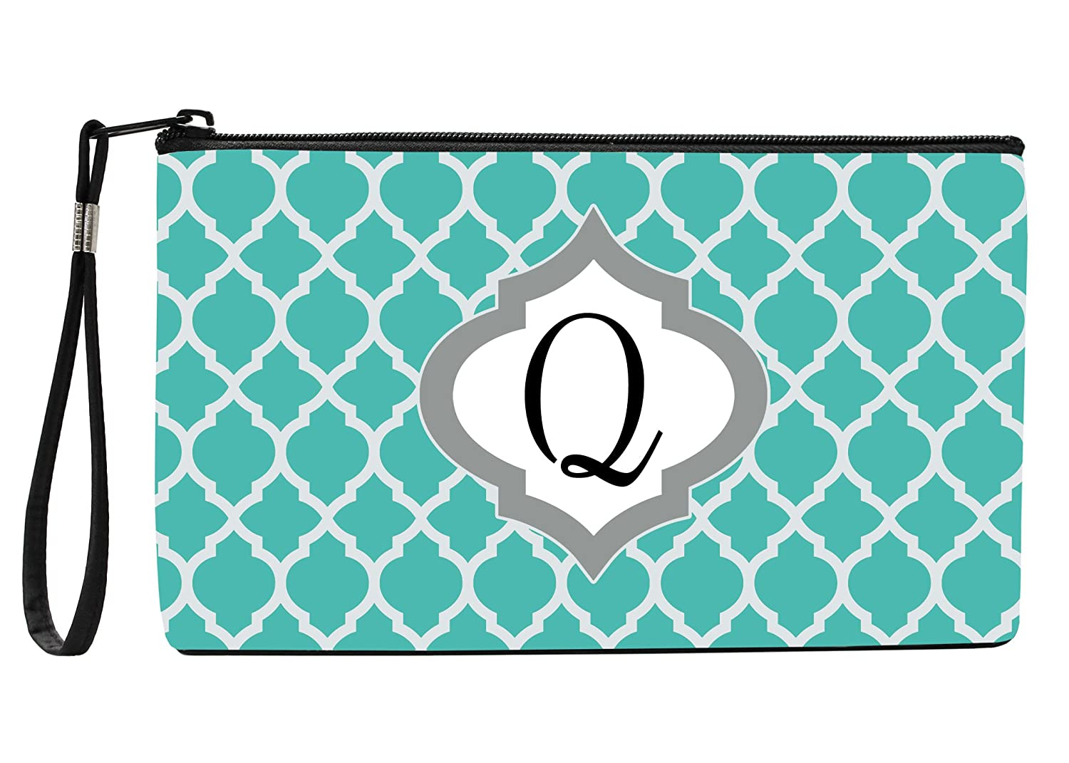 Snaptotes Trendy Teal Moroccan Monogram Design Wristlet Clutch Purse