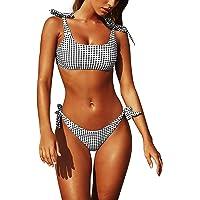 Yuson Girl Conjuntos De Bikini De Talle Alto a Tartán Sexy Retro Brasileños Mujer Traje De Baño Cuello Halter Crop Top…