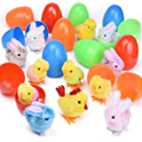 """12 PCs Filled Easter Eggs with Wind Up Toys Chicks & Bunnies, 3.74"""" Colorful Prefilled Easter Eggs Toys for Easter Basket Stuffers, Easter Party Favors, Kids Easter Gifts"""