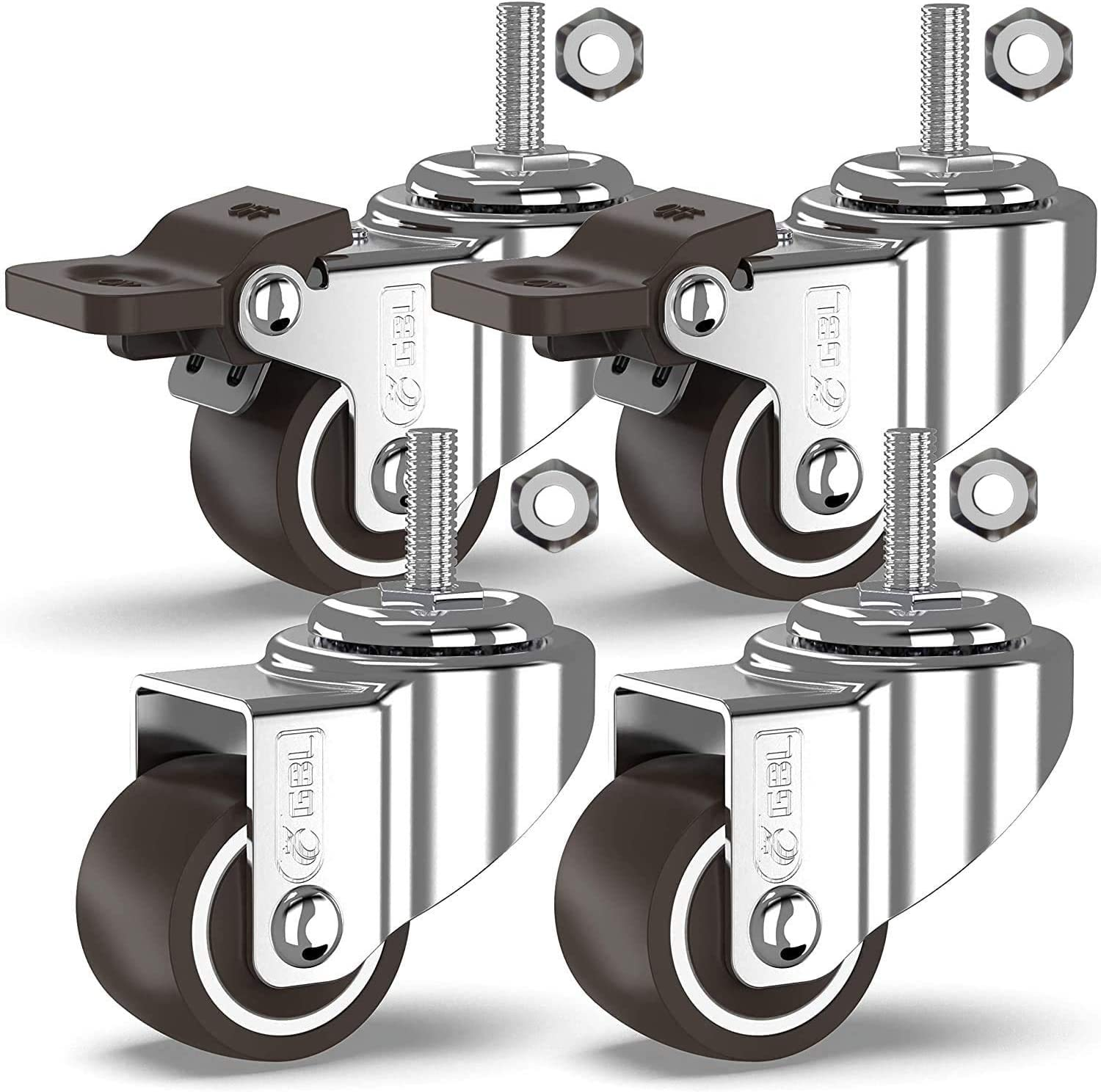 GBL - 1'' Small Caster Wheels + Nuts | Stem Threaded M8x20mm 90Lbs | Low Profile | Dolly Wheels for Furniture Trolley Brake Hardwood Floors