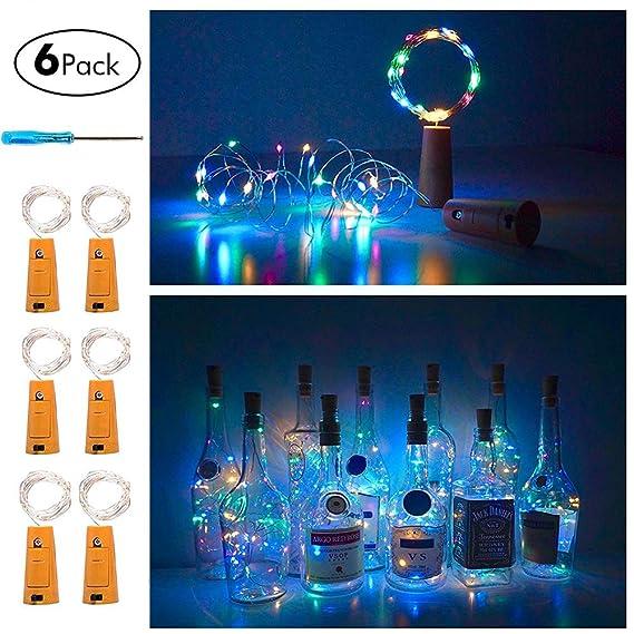 Amazon.com: huixiang corcho botella de vino de luz LED ...