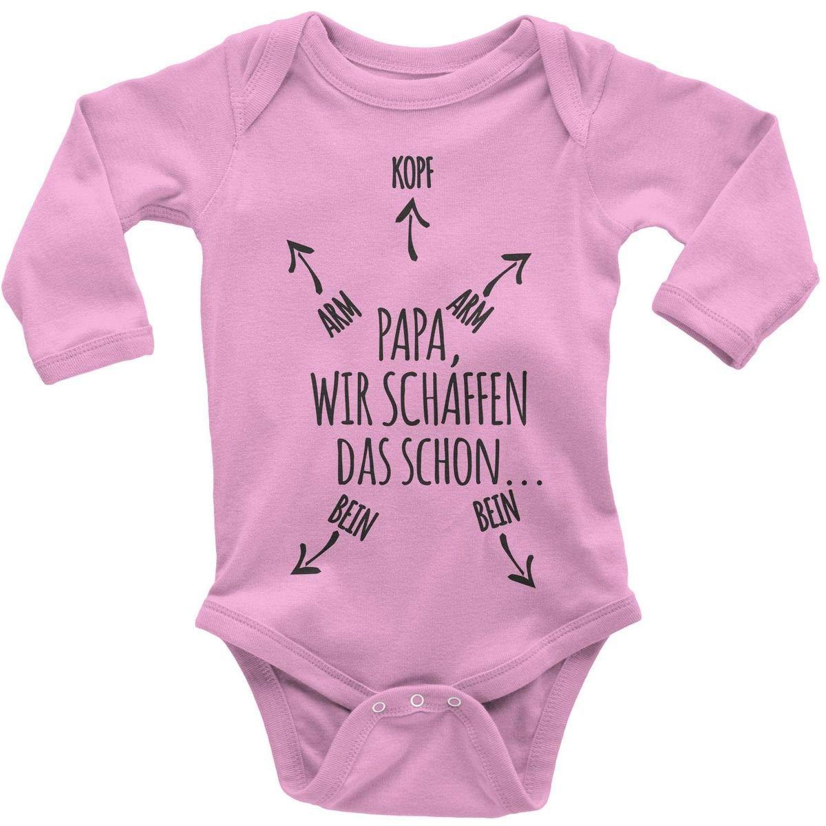 handbedruckt in Deutschland Mikalino Babybody mit Spruch f/ür Jungen M/ädchen Unisex Langarm Papa wir schaffen das Schon Handmade with Love