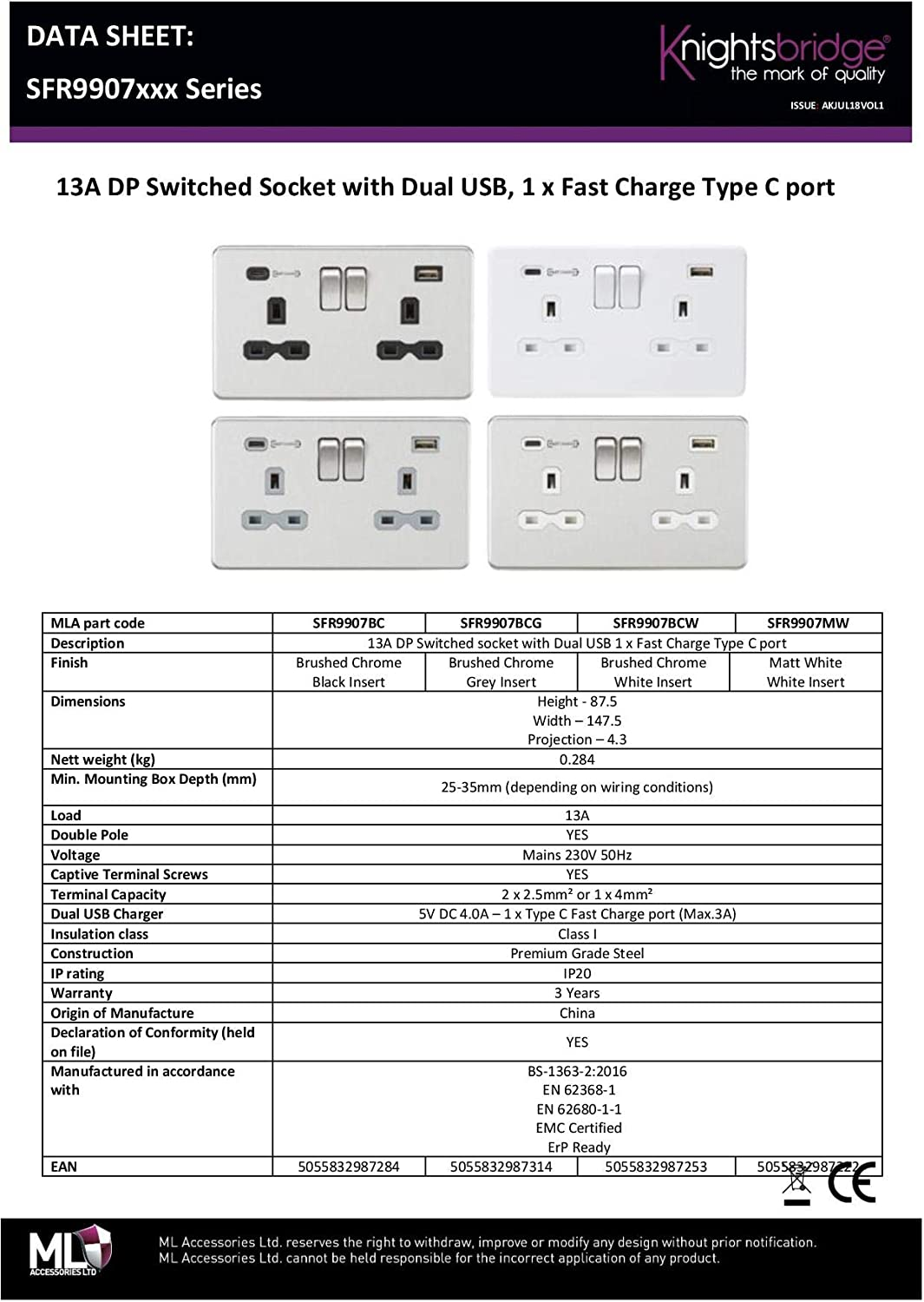 13A 2G DP Switched Socket with Dual USB Charger Type-C FASTCHARGE Brushed Chrome