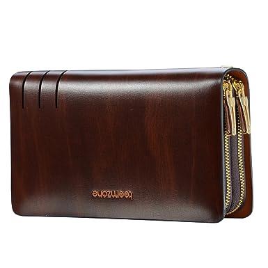 Amazon.com: Teemzone Mens Genuine Leather Clutch Bag Handbag ...