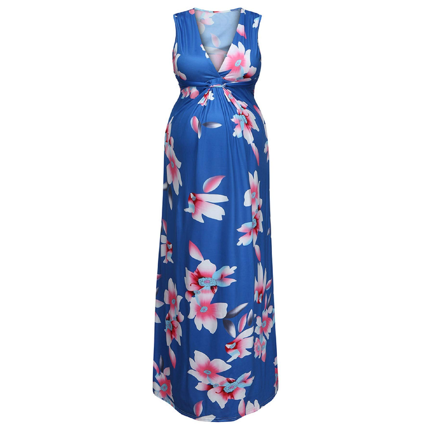 Womens Long Kimono Sleeveless V-Neck Floral Summer Flowy Maxi Dress