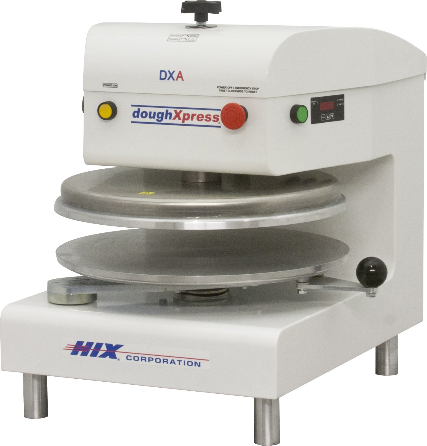 DoughXpress DXA-WH White Powder-Coated Air-Automatic Dough Press, 120V, 18-3/16'' Width x 25-1/8'' Height x 24-11/16'' Depth