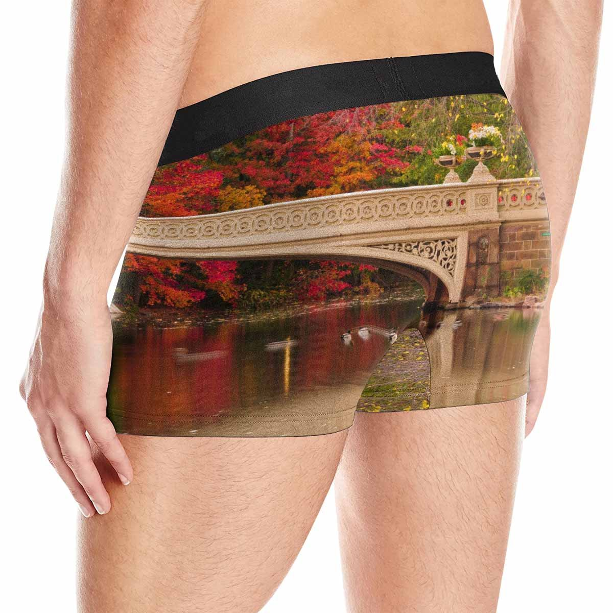 New York City XS-3XL INTERESTPRINT Custom Mens All-Over Print Boxer Briefs Fall Colors at Bow Bridge in Central Park