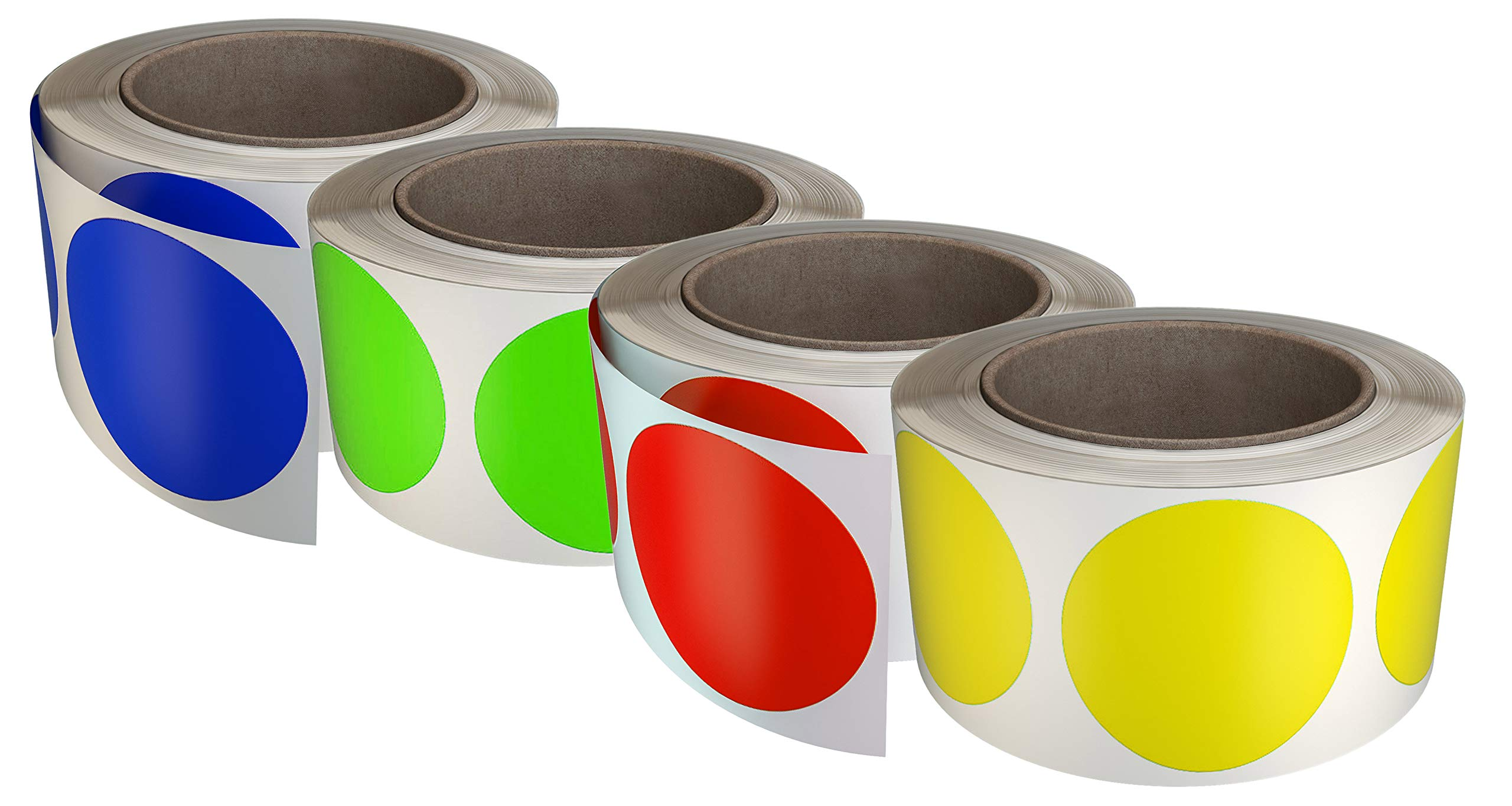 Royal Green Round Colored Label Stickers in 4 Colors Red, Blue, Yellow and Neon Green 50mm (2 inch) - Circle Sticker dots - 2400 Pack by Royal Green