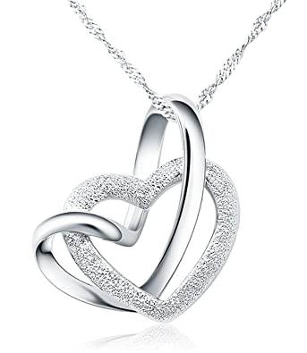 Pendentif collier avec 2 cœurs en argent entrelacés avec boîte-cadeau