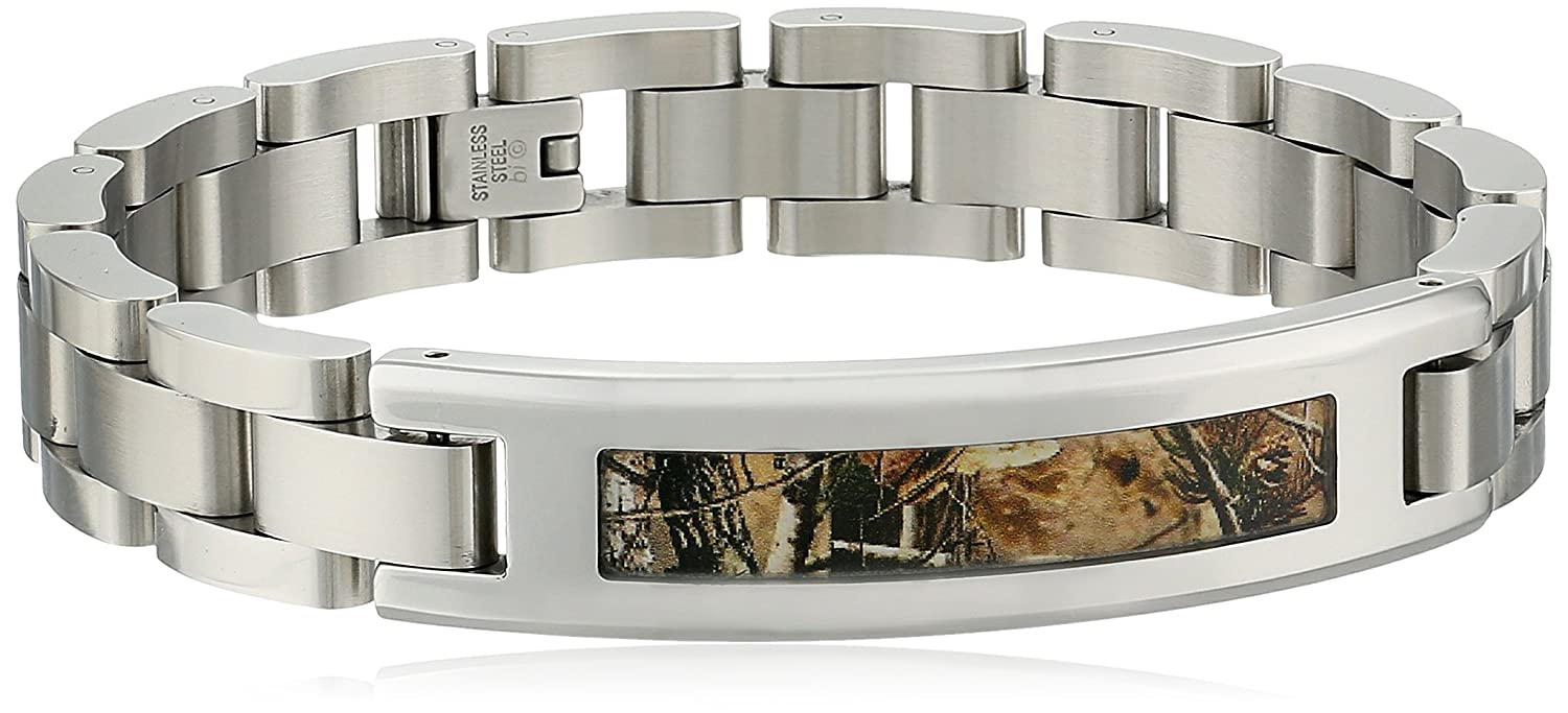 Men's Stainless Steel Camouflage-Accent Link Bracelet Amazon Collection BS6623/SS/CA/H
