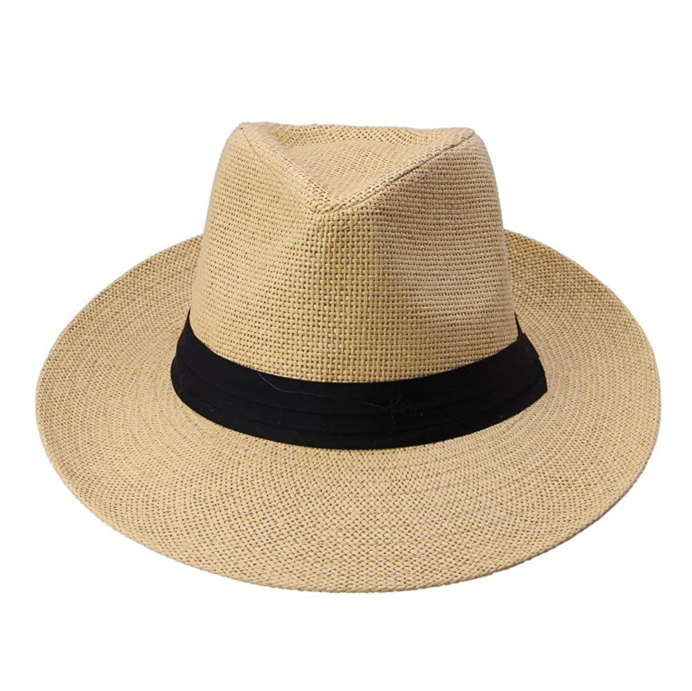 Docooler Men Women Panama Sun Straw Hat Rolled Trim Beach Cap