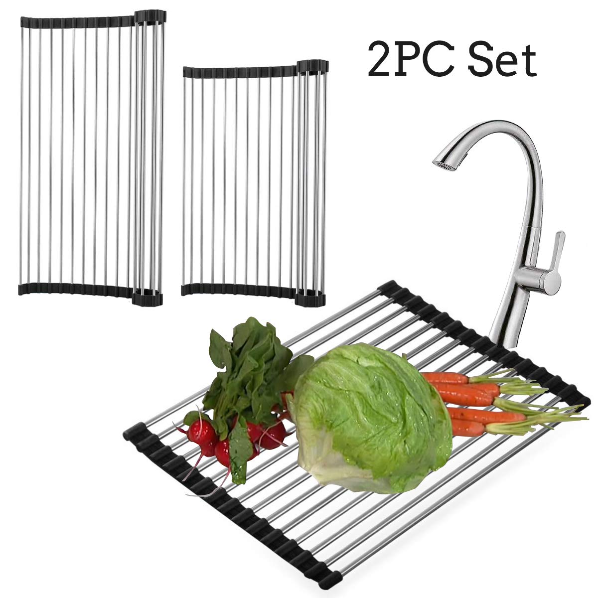 Dish Drying Rack Mat For Sink Kitchen - Stainless Roll Up Collapsible Sponge Dishes Drainer Over Board, Large Steel Foldable Cutting Dry Storage Mats For Fruit Vegetable Bowl Bottle Towel Holder Racks