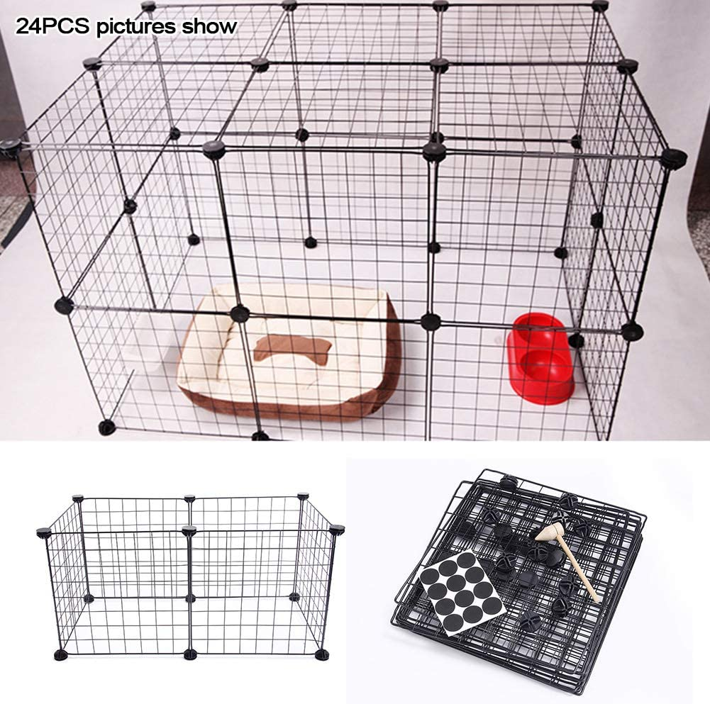 Jaula para mascotas, bolígrafo de hierro para mascotas, perro, cachorro, gato, conejo, plegable, para uso en interior/al aire libre Tamaño libre negro