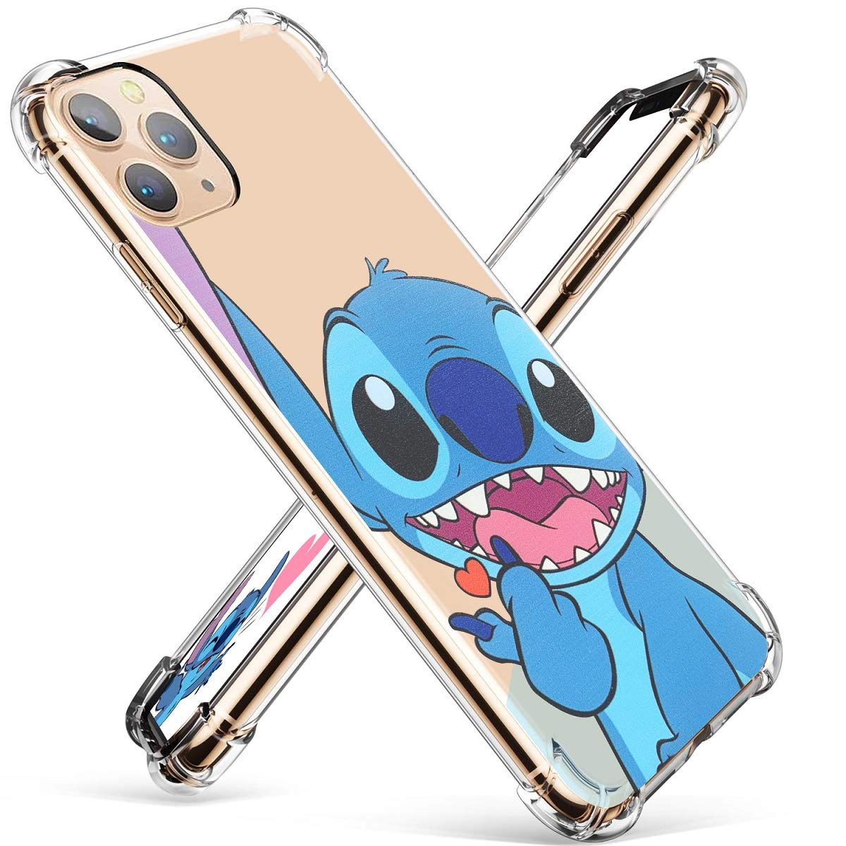 """Darrnew Heart Lilo Case for iPhone 12 Pro Max Cartoon TPU Cute 3D Fun Cover, Kawaii Unique Kids Girls Women Cases, Funny Ultra-Thin Bumper Character Rubber Skin Shockproof for iPhone 12 Pro Max 6.7"""""""